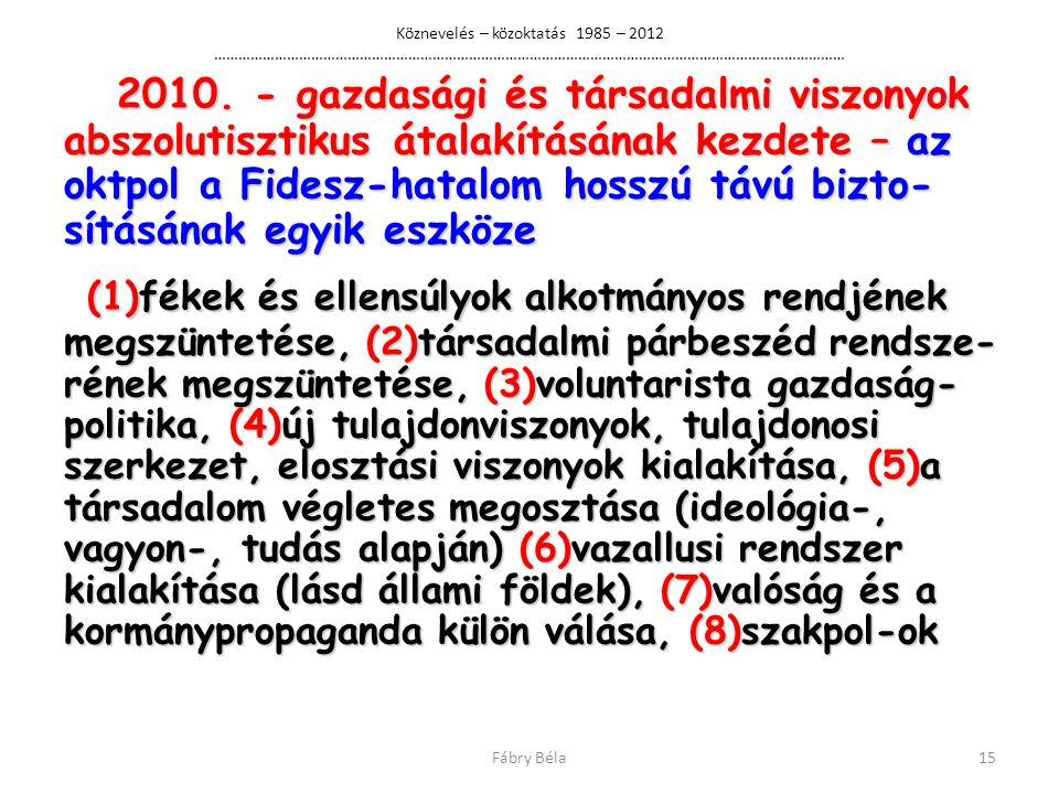 Köznevelés – közoktatás 1985 – 2012 …………………………………………………………………………………………………………………………………………