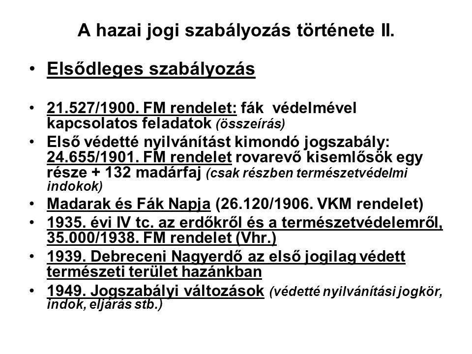 A hazai jogi szabályozás története II.