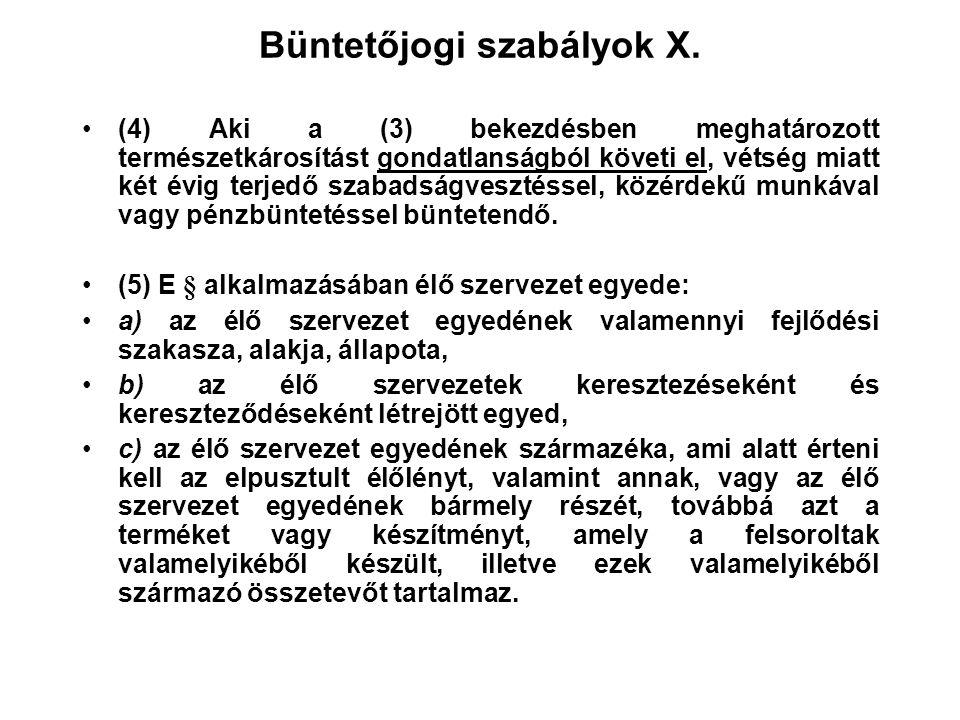 Büntetőjogi szabályok X.