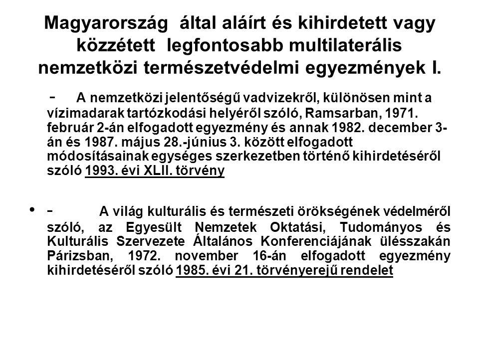 Magyarország által aláírt és kihirdetett vagy közzétett legfontosabb multilaterális nemzetközi természetvédelmi egyezmények I.