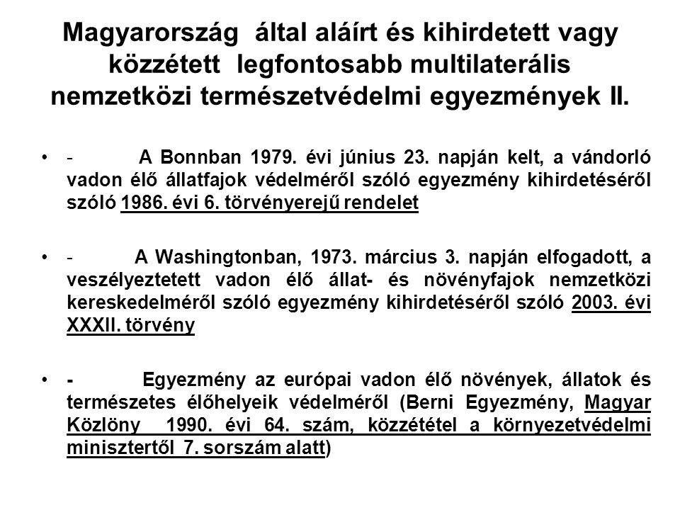 Magyarország által aláírt és kihirdetett vagy közzétett legfontosabb multilaterális nemzetközi természetvédelmi egyezmények II.