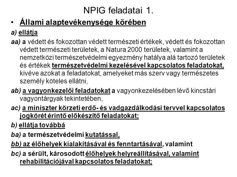 NPIG feladatai 1. Állami alaptevékenysége körében a) ellátja