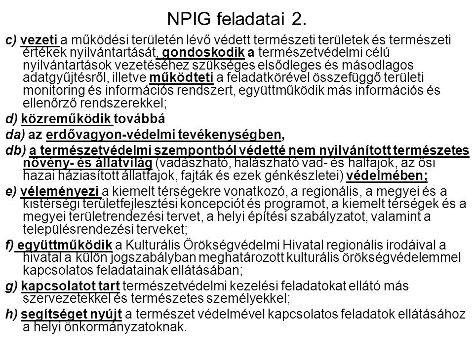 NPIG feladatai 2.