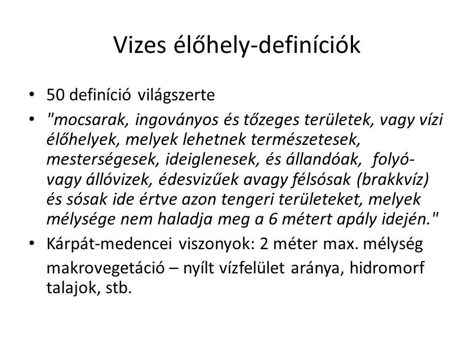 Vizes élőhely-definíciók