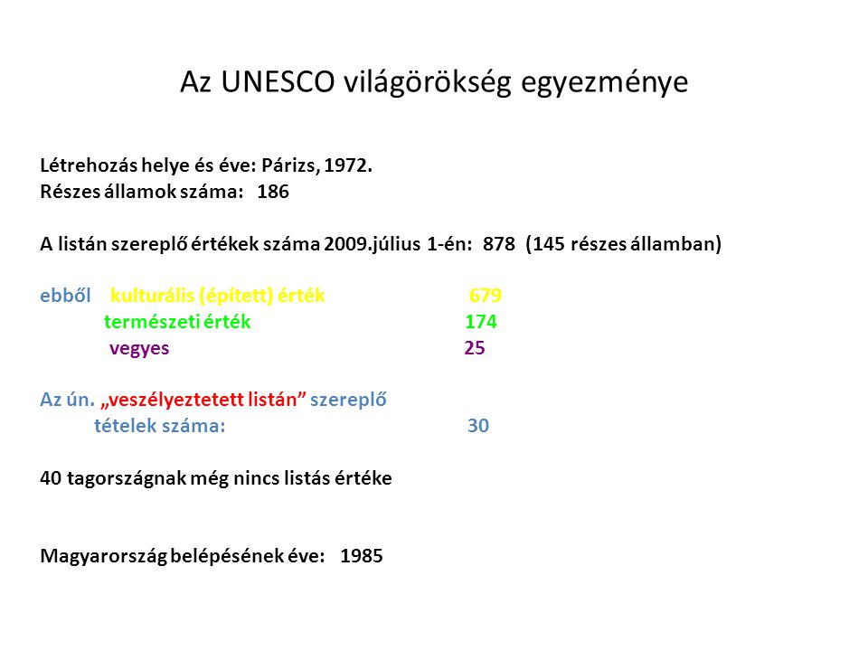 Az UNESCO világörökség egyezménye