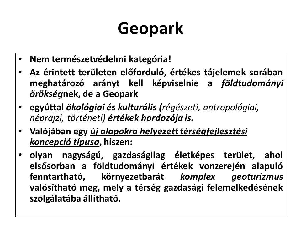 Geopark Nem természetvédelmi kategória!
