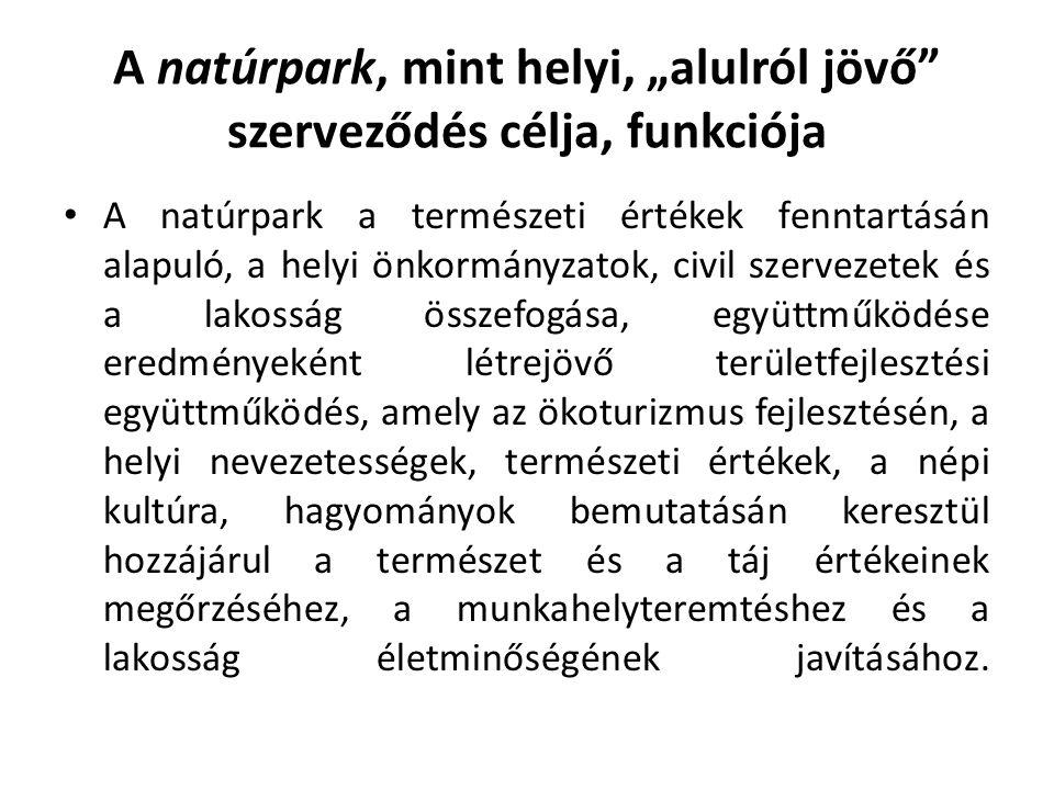 """A natúrpark, mint helyi, """"alulról jövő szerveződés célja, funkciója"""
