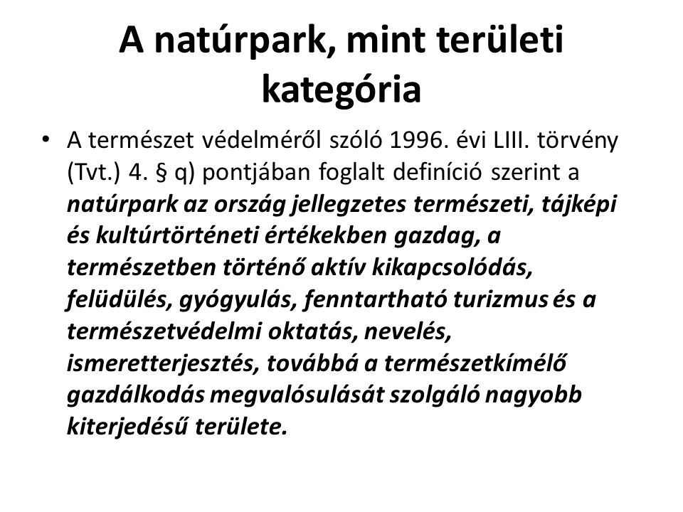 A natúrpark, mint területi kategória