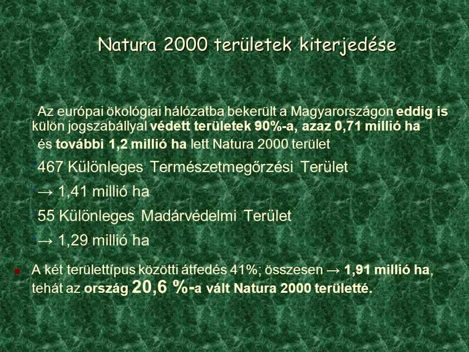 Natura 2000 területek kiterjedése
