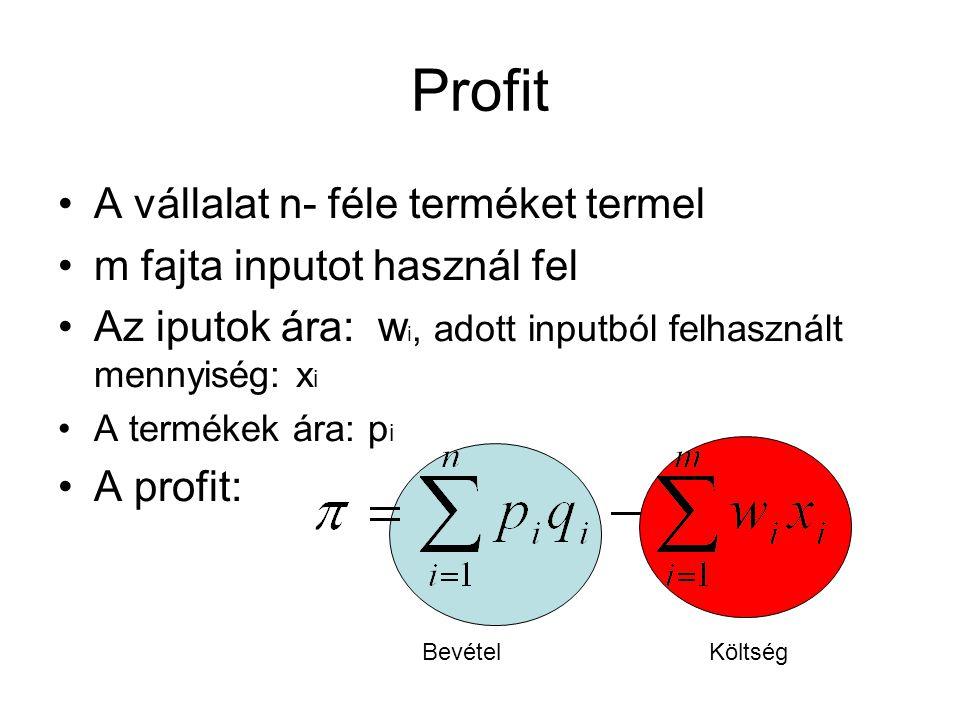 Profit A vállalat n- féle terméket termel m fajta inputot használ fel