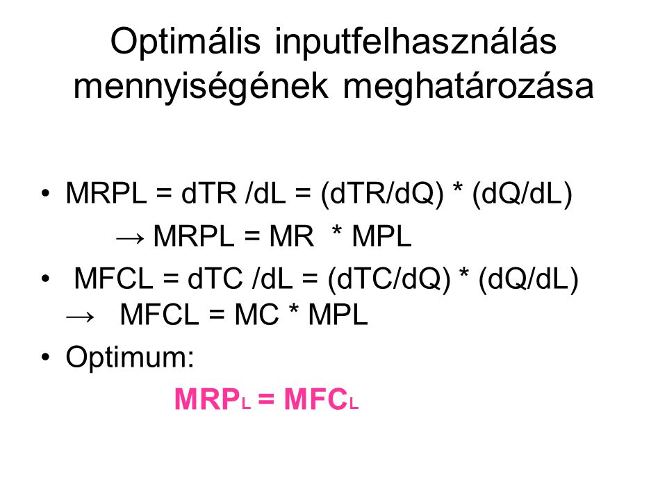 Optimális inputfelhasználás mennyiségének meghatározása