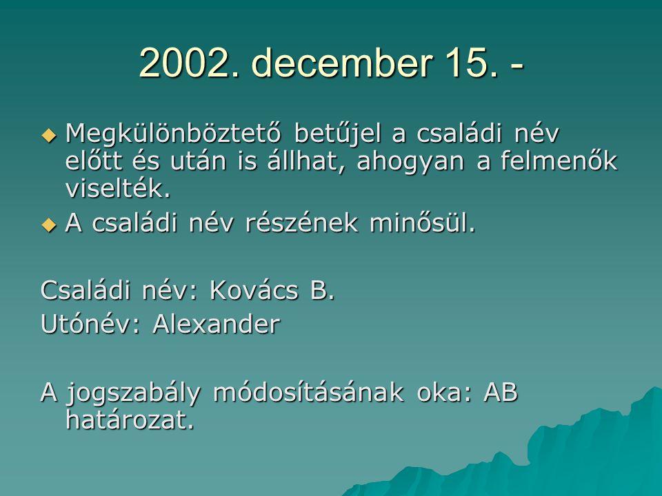 2002. december 15. - Megkülönböztető betűjel a családi név előtt és után is állhat, ahogyan a felmenők viselték.