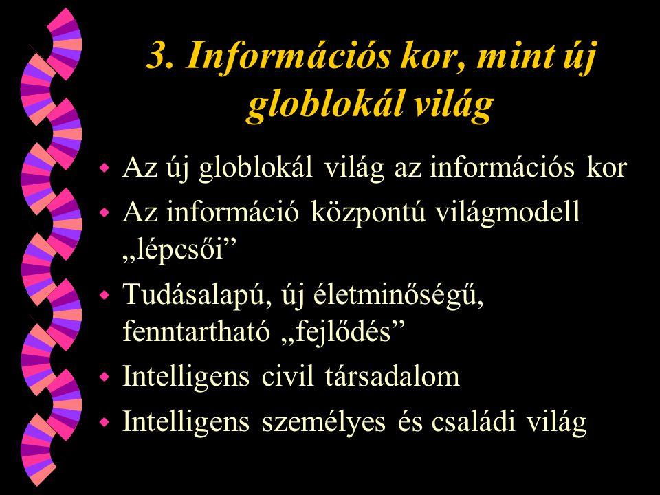 3. Információs kor, mint új globlokál világ