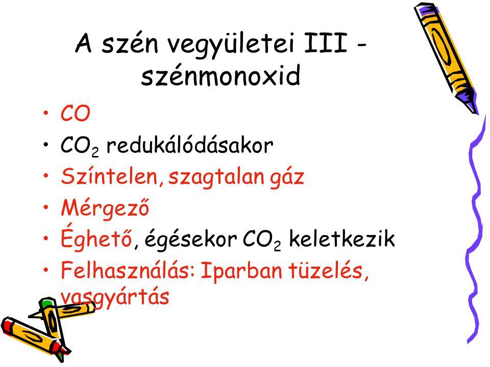 A szén vegyületei III - szénmonoxid