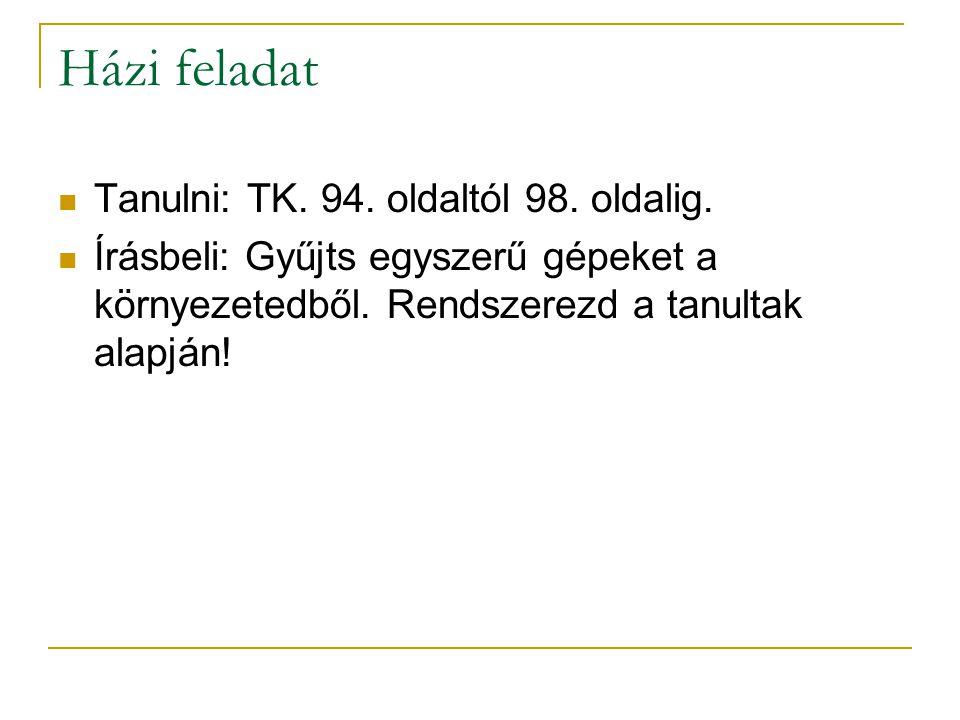 Házi feladat Tanulni: TK. 94. oldaltól 98. oldalig.