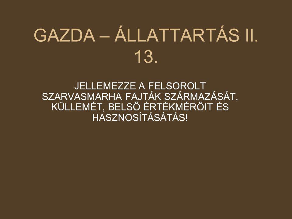 GAZDA – ÁLLATTARTÁS II. 13.