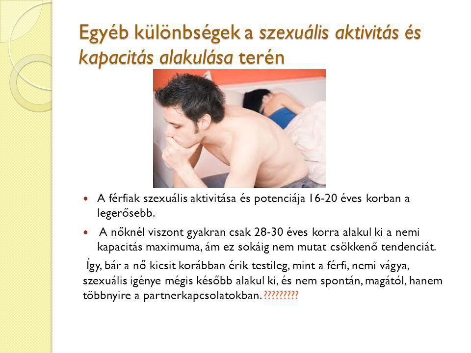 Egyéb különbségek a szexuális aktivitás és kapacitás alakulása terén