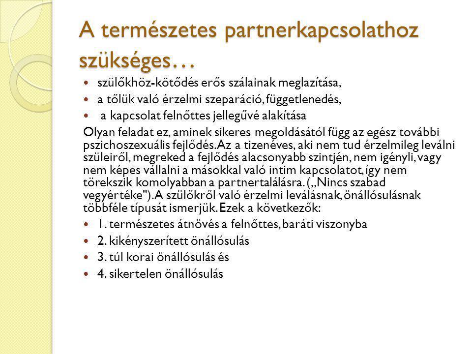 A természetes partnerkapcsolathoz szükséges…