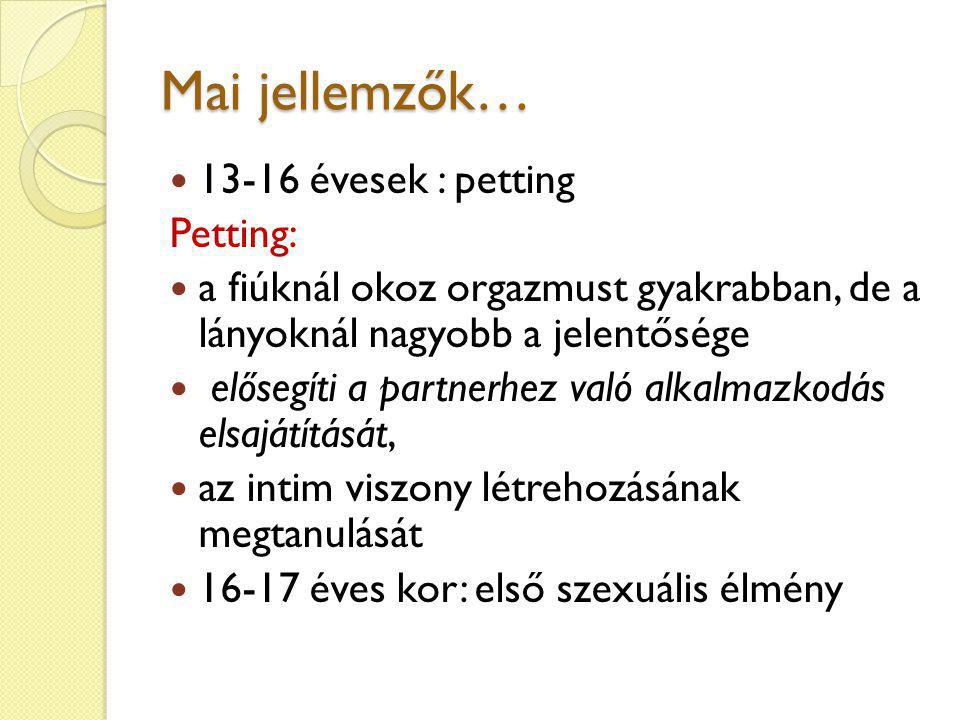 Mai jellemzők… 13-16 évesek : petting Petting: