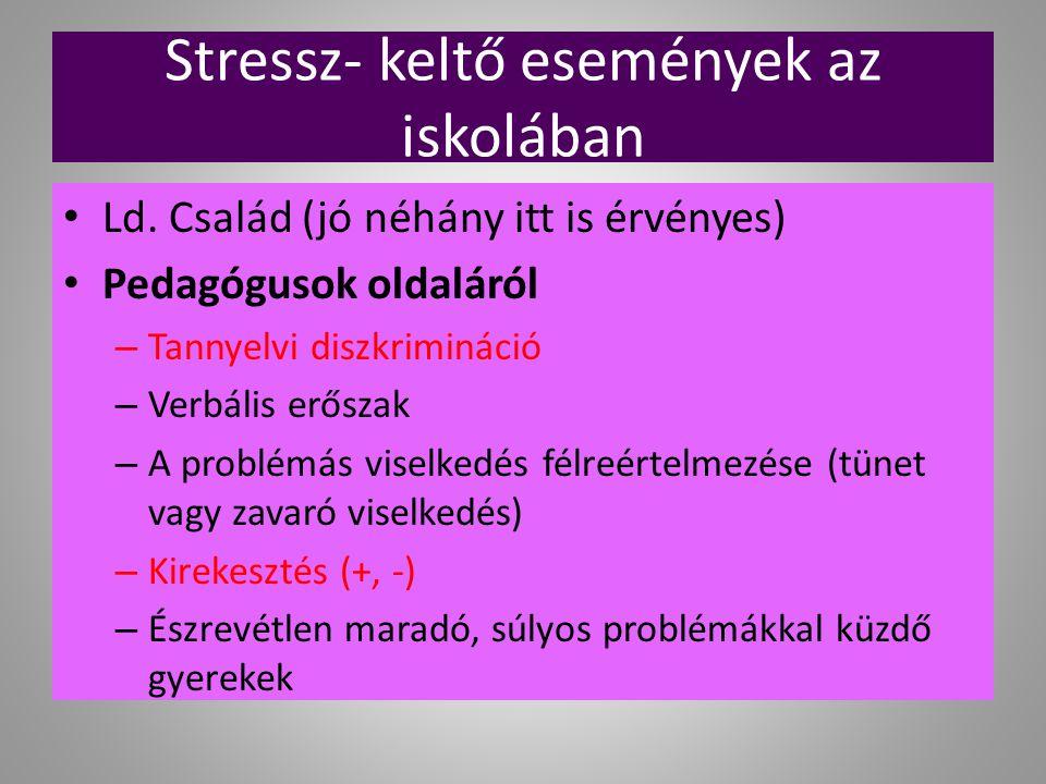 Stressz- keltő események az iskolában