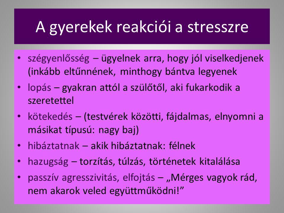 A gyerekek reakciói a stresszre