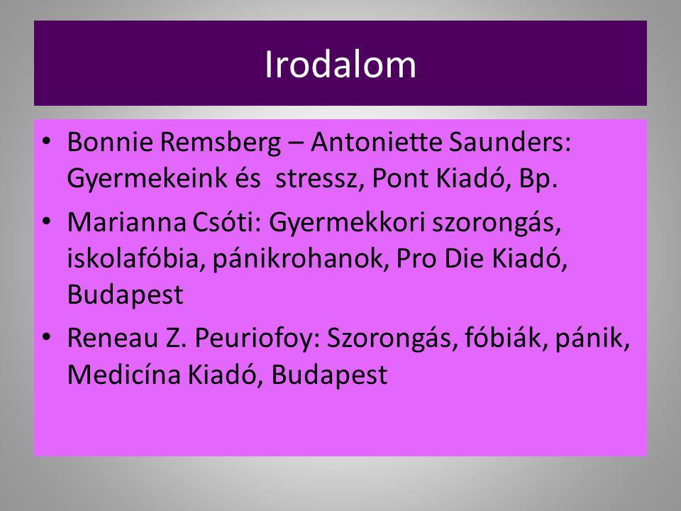 Irodalom Bonnie Remsberg – Antoniette Saunders: Gyermekeink és stressz, Pont Kiadó, Bp.