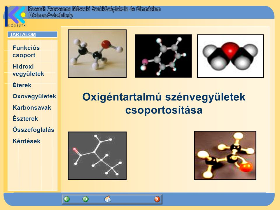Oxigéntartalmú szénvegyületek csoportosítása