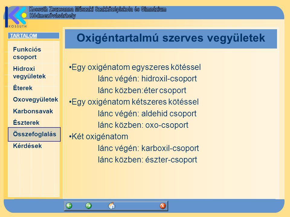 Oxigéntartalmú szerves vegyületek