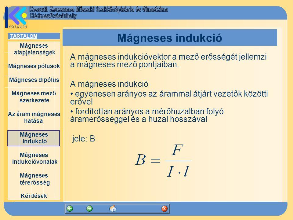 Mágneses indukció A mágneses indukcióvektor a mező erősségét jellemzi a mágneses mező pontjaiban. A mágneses indukció.