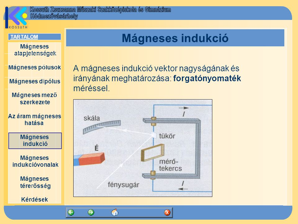 Mágneses indukció A mágneses indukció vektor nagyságának és irányának meghatározása: forgatónyomaték méréssel.