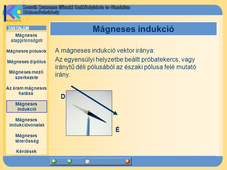 Mágneses indukció A mágneses indukció vektor iránya: