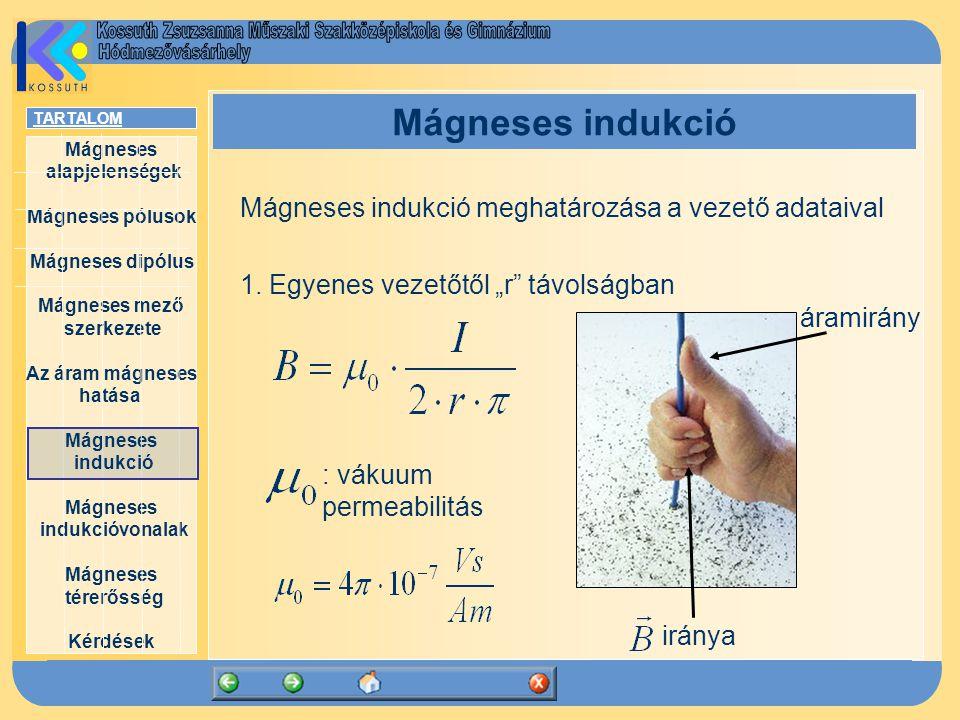 Mágneses indukció Mágneses indukció meghatározása a vezető adataival