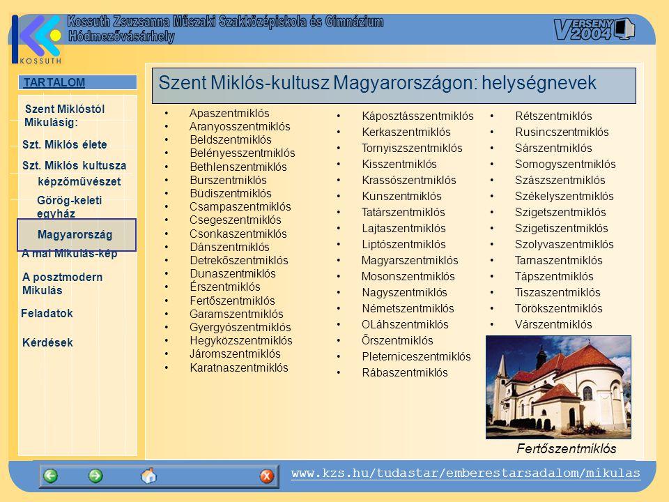 Szent Miklós-kultusz Magyarországon: helységnevek