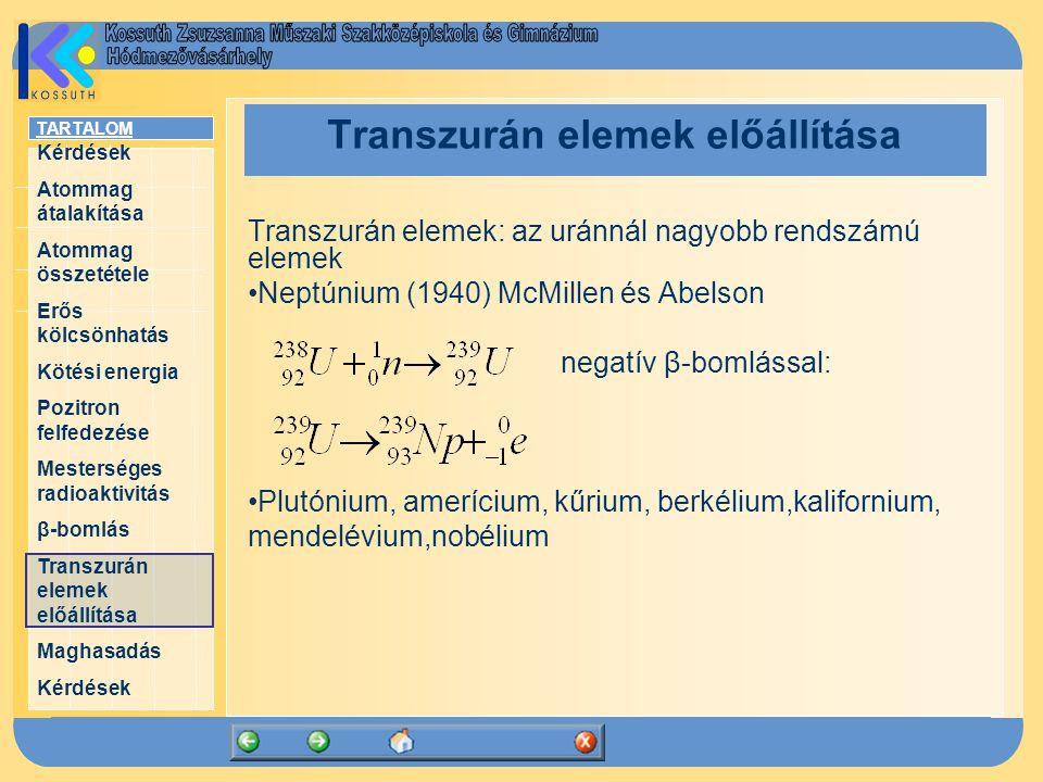 Transzurán elemek előállítása
