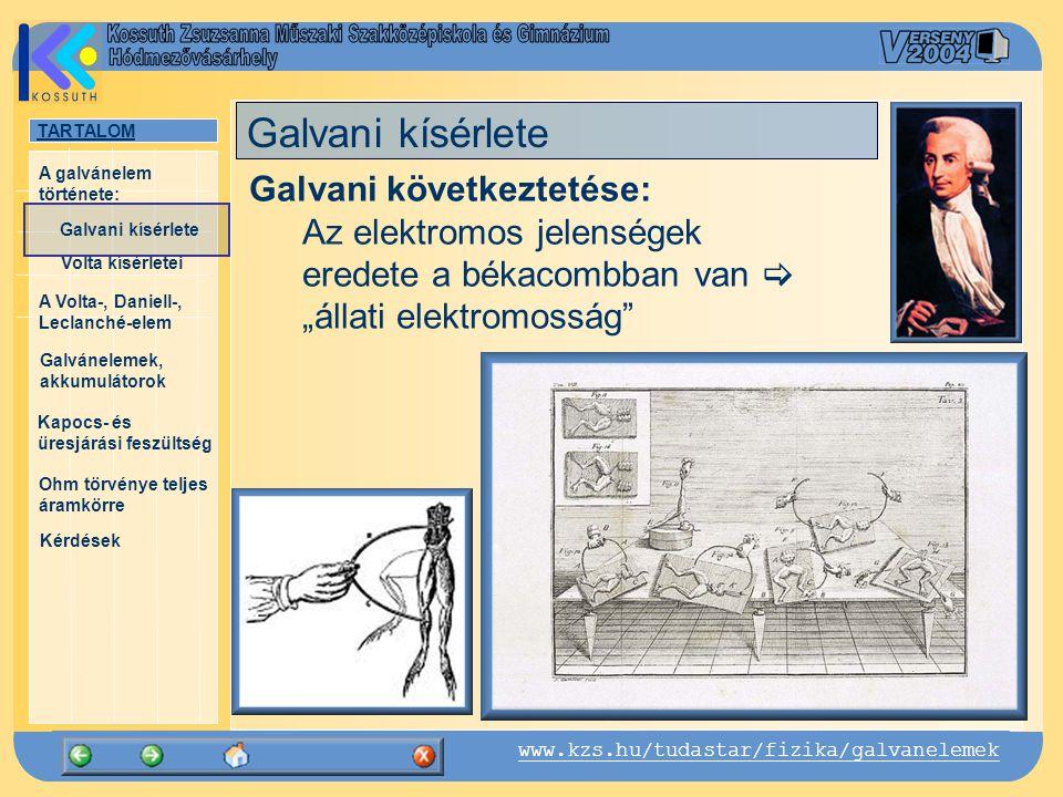 Galvani kísérlete Galvani következtetése: