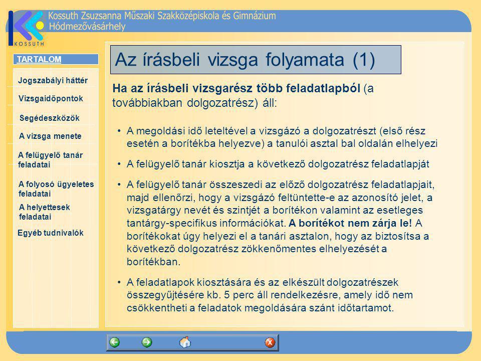 Az írásbeli vizsga folyamata (1)
