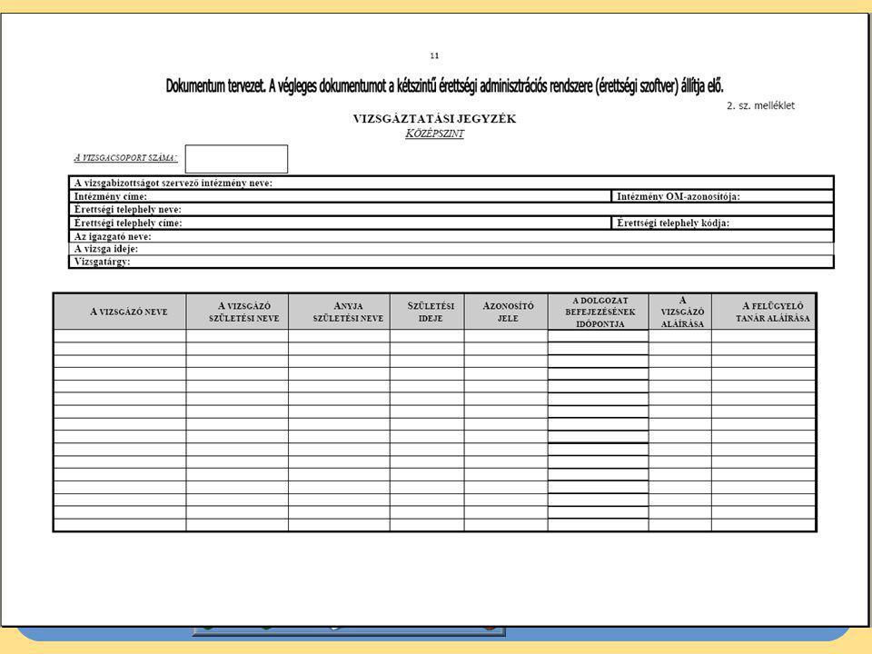 Az írásbeli vizsga folyamata (2)