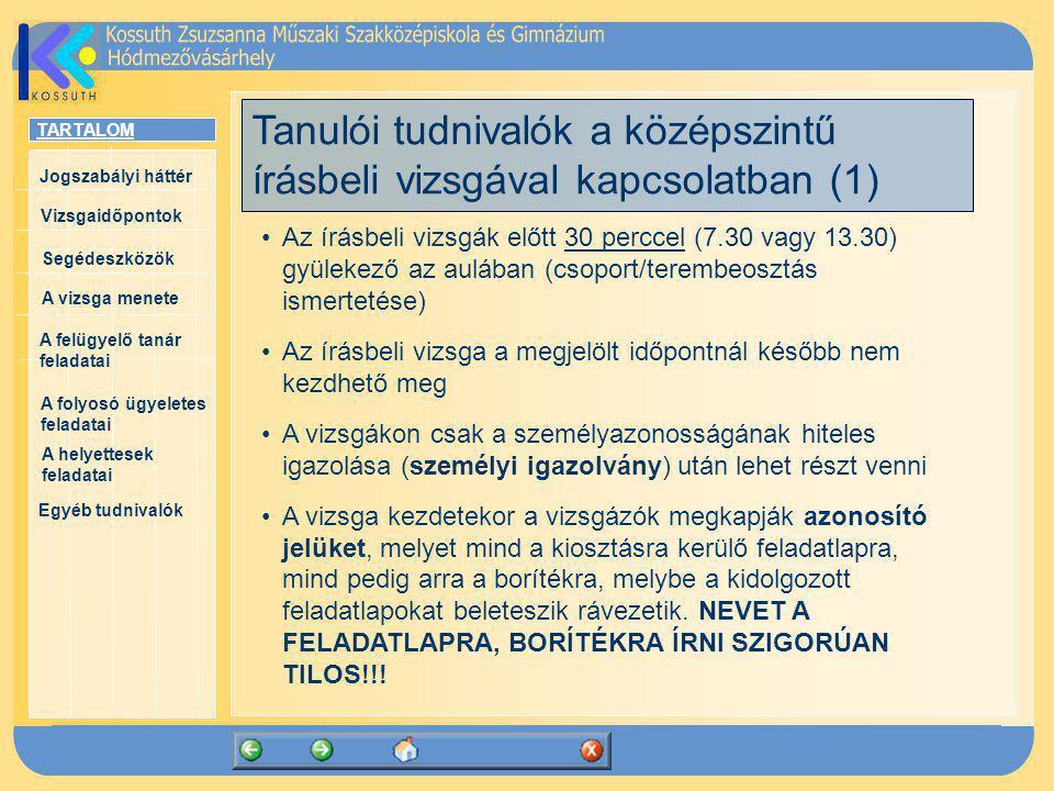 Tanulói tudnivalók a középszintű írásbeli vizsgával kapcsolatban (1)