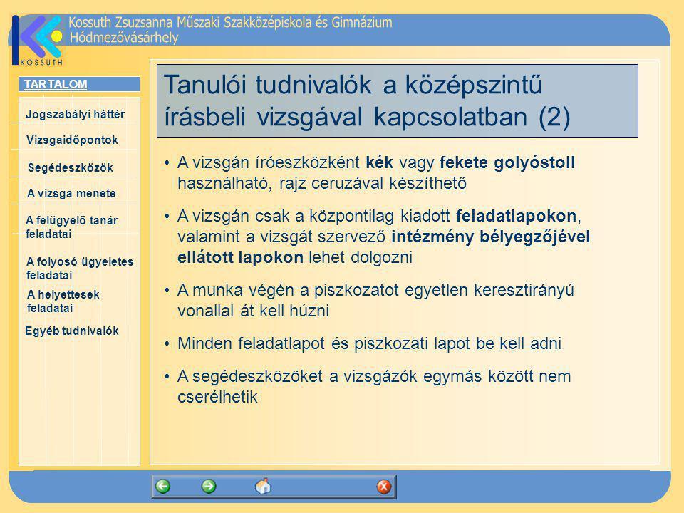 Tanulói tudnivalók a középszintű írásbeli vizsgával kapcsolatban (2)