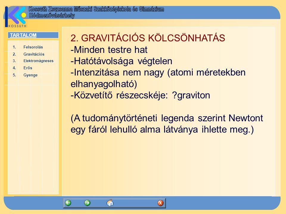 2. GRAVITÁCIÓS KÖLCSÖNHATÁS