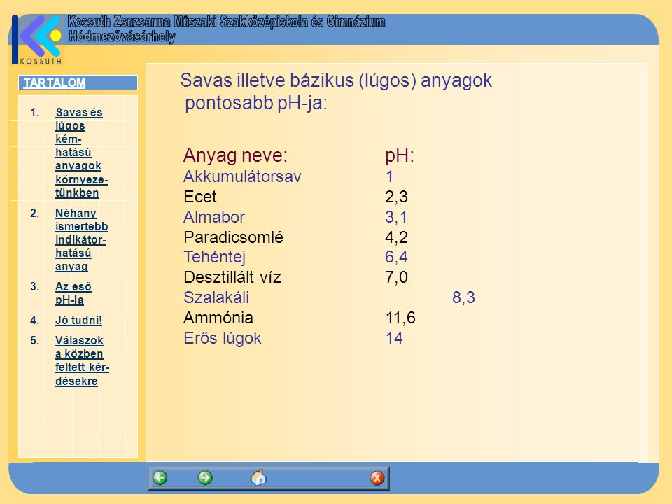 Savas illetve bázikus (lúgos) anyagok pontosabb pH-ja: