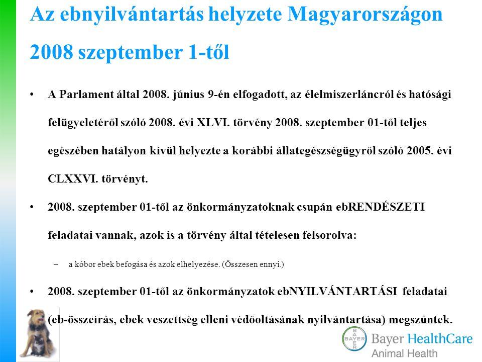 Az ebnyilvántartás helyzete Magyarországon 2008 szeptember 1-től