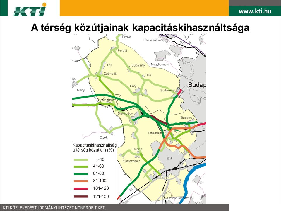 A térség közútjainak kapacitáskihasználtsága