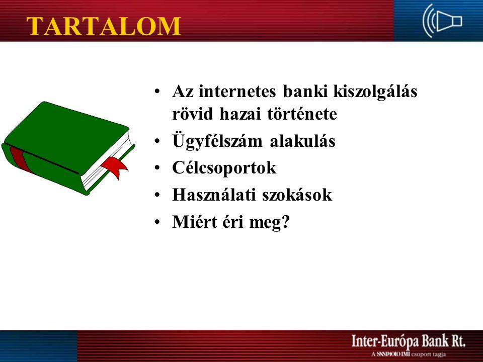 TARTALOM Az internetes banki kiszolgálás rövid hazai története