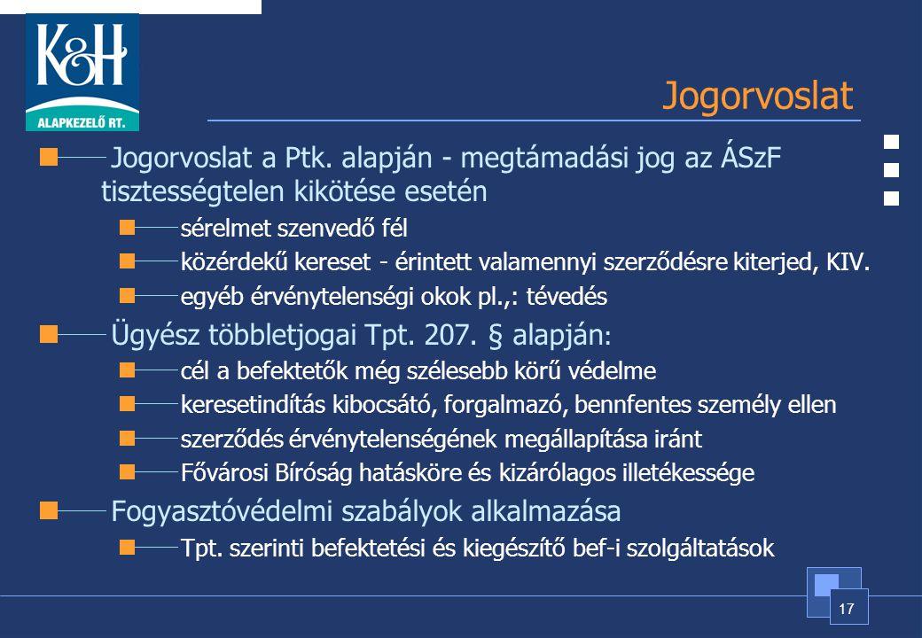 Jogorvoslat Jogorvoslat a Ptk. alapján - megtámadási jog az ÁSzF tisztességtelen kikötése esetén. sérelmet szenvedő fél.