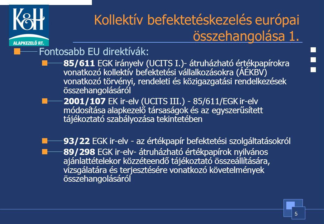 Kollektív befektetéskezelés európai összehangolása 1.