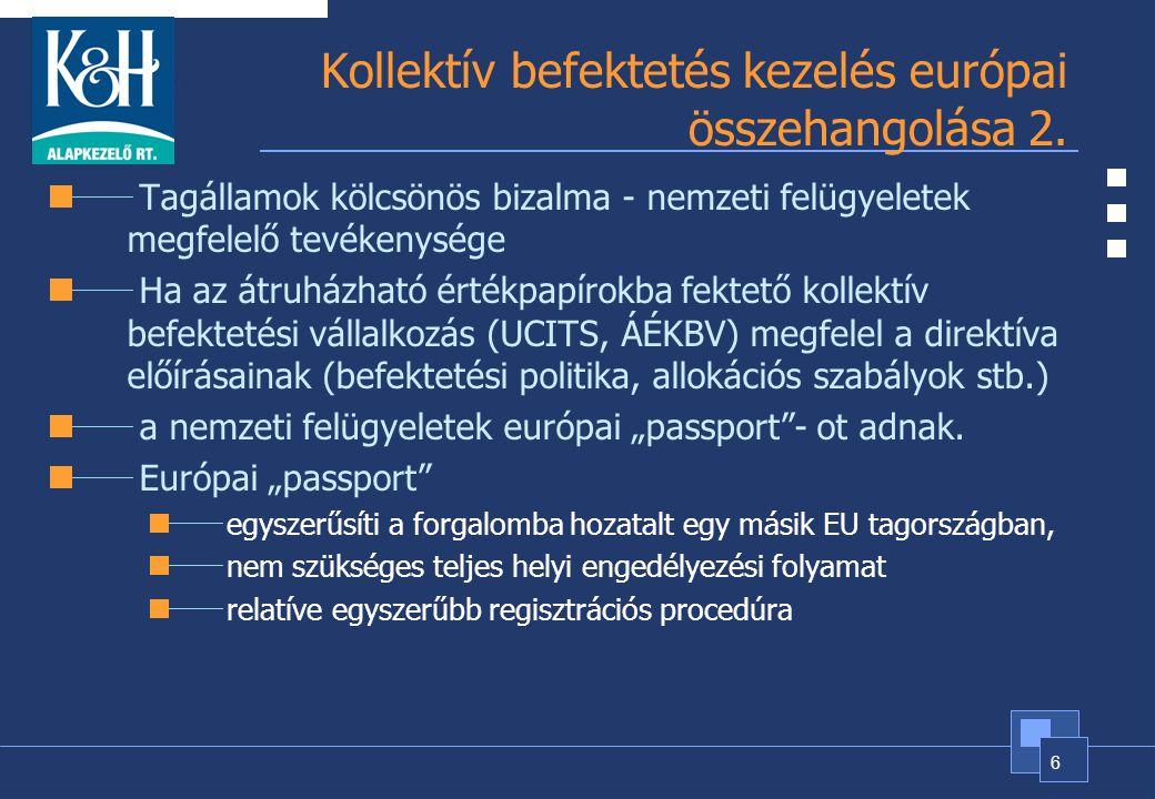 Kollektív befektetés kezelés európai összehangolása 2.