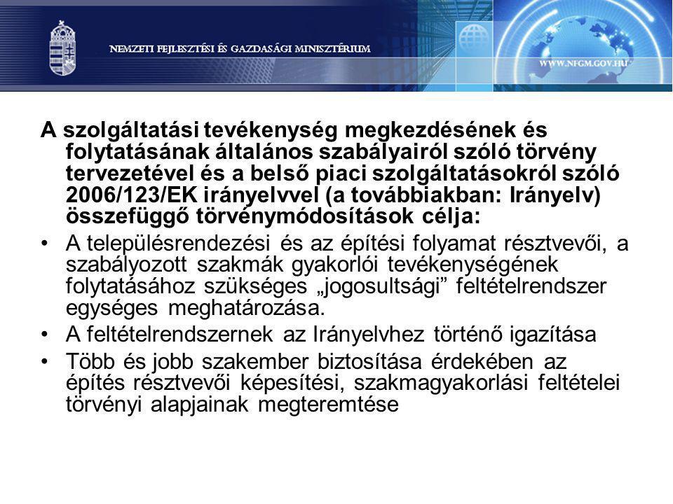A szolgáltatási tevékenység megkezdésének és folytatásának általános szabályairól szóló törvény tervezetével és a belső piaci szolgáltatásokról szóló 2006/123/EK irányelvvel (a továbbiakban: Irányelv) összefüggő törvénymódosítások célja: