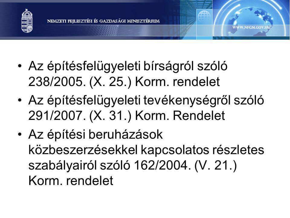 Az építésfelügyeleti bírságról szóló 238/2005. (X. 25.) Korm. rendelet