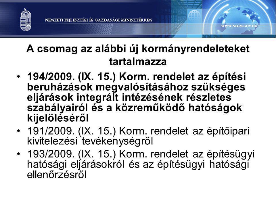 A csomag az alábbi új kormányrendeleteket tartalmazza